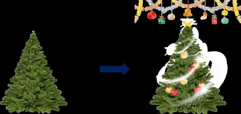 クリスマスツリーへの投影
